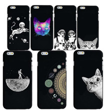 Case For iphone 8 8plus 7 7Plus 6S SE Cute Cat Space Moon Man Pandas  Animal black Phone Cases Cover for X