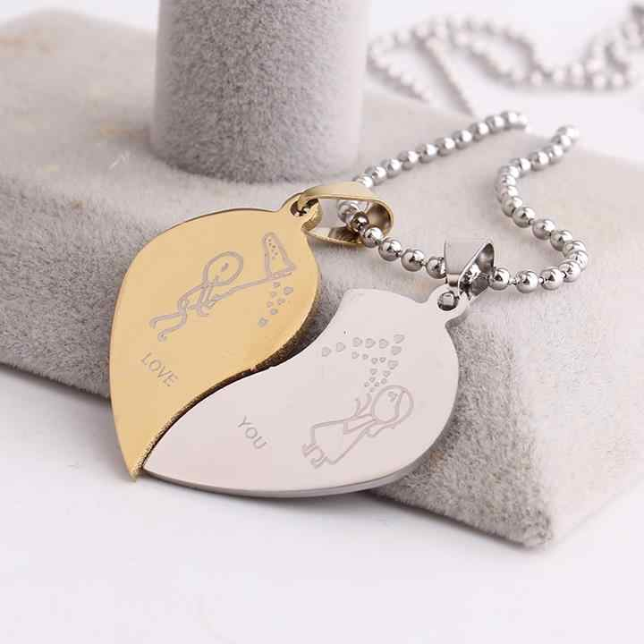 free shipping Lovers boy girl hearts LOVE YOU 316L Stainless Steel pendant necklaces for men women wholesale