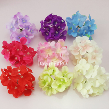 NEW 50 Pcs/Lot  Artificial Hydrangea Silk Flowers Heads Decoration for Wedding Party Banquet Home Decoration Fake Flowers