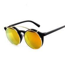 De lujo de la Marca de La Vendimia gafas de Sol Mujeres Hombres Punk Capas Dobles Patchwork Moda de gafas de Sol UV400 Gafas de sol Gafas De Sol De Espejo Redondo