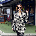 2016 Fashion Spring Autumn Jacket Women Long Sleeve Houndstooth Print Top Casual Slim Belt Peplum Cardigan Coat Outerwear