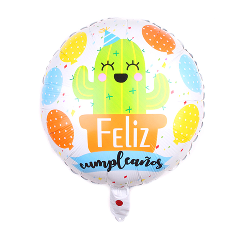Cartoon Cactus Printed Happy Birthday Helium Foil Balloons -3120