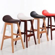 Taburete de Bar de madera Vintage, silla de comedor, contador de altura, taburete de desayuno de cocina, mueble de Bar, silla de barra moderna con patas de madera