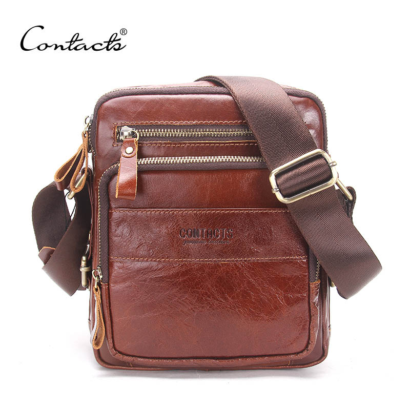 CONTACT'S Genuine Cow Leather Men Bags ipad Handbags Male Messenger Bag Man Crossbody Shoulder Bag Men's Travel Bags Hot Sale