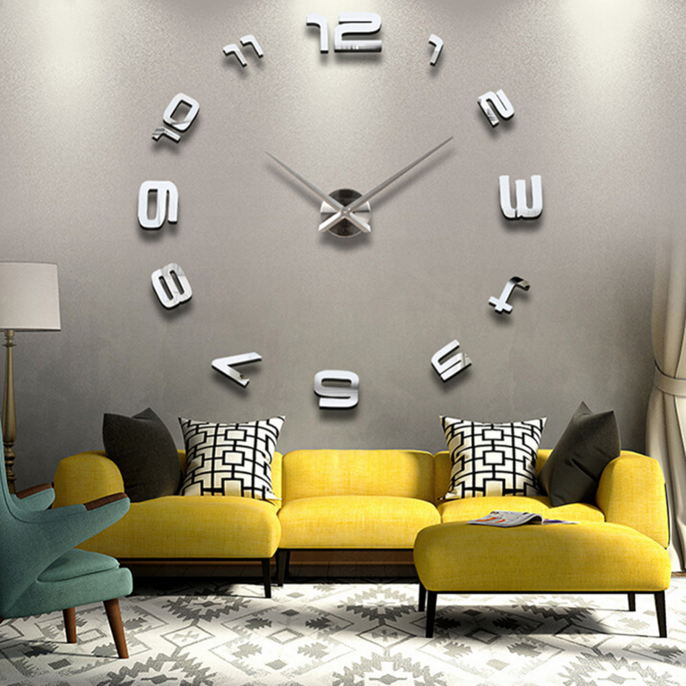 Modern fashion large digital wall clock diy 3d mirror Old home interior pictures value