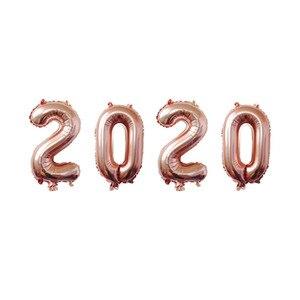 Image 5 - 4Pcs 2020 Aantal Folie Ballonnen Zilver Digit Air Ballonnen Kerstversiering Gelukkig Nieuwjaar 2020 Globos Nieuwjaar Decor
