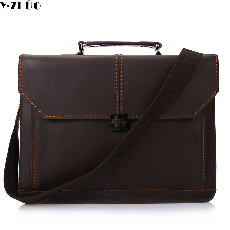 ФОТО crazy horse genuine leather bags for men briefcase handbags tote bag crossbody bags for male messenger shoulder work bag