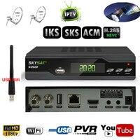 Twin Tuner IKS SKS ACM IPTV H.265 Receiver Vệ Tinh cho Nam mỹ Châu Âu Trung Đông Á Hỗ Trợ Wifi 3 Gam Cccam IKS CS DLNA