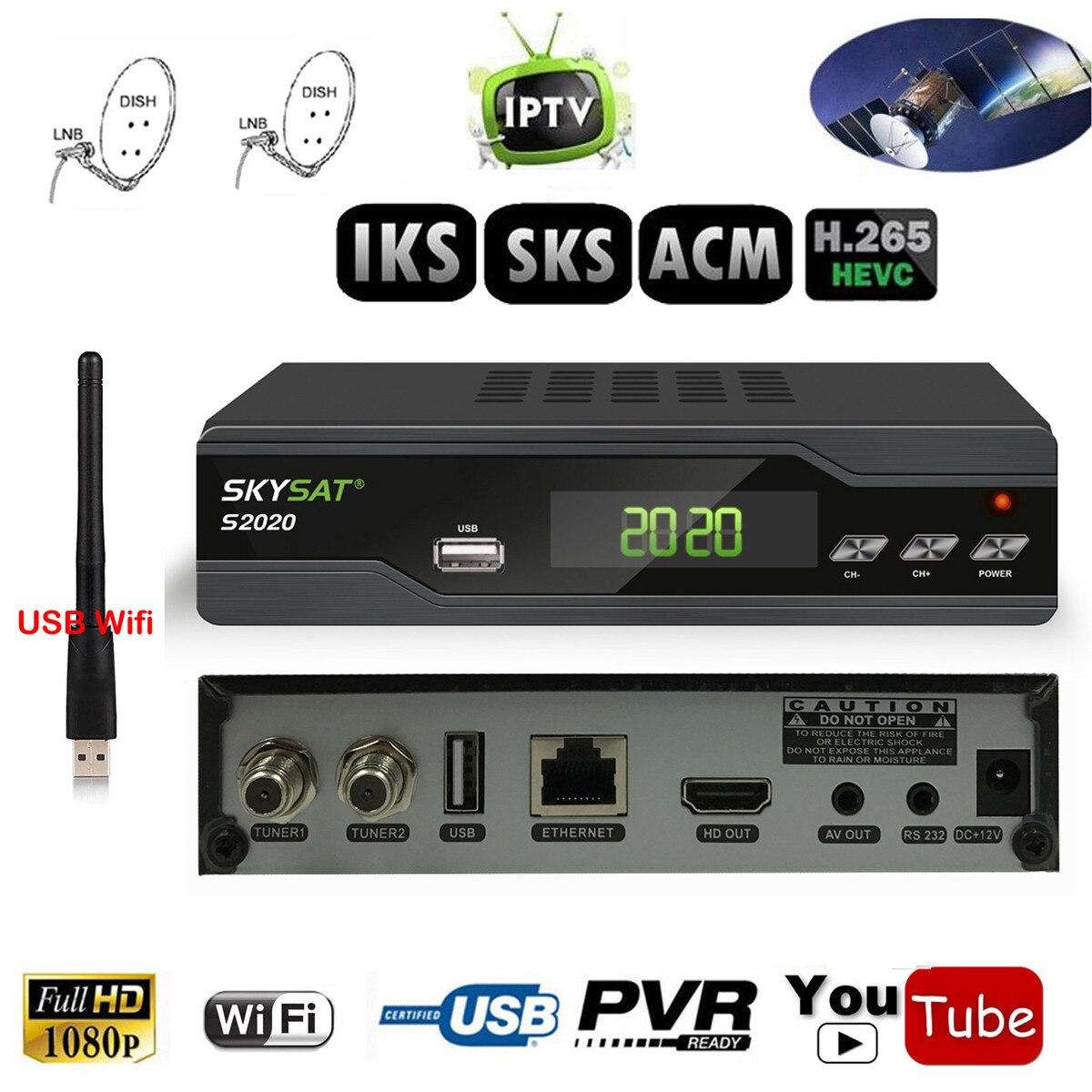 Twin Tuner IKS SKS H.265 ACM IPTV Ricevitore Satellitare per il Sud America Europa Medio Oriente Asia IKS Cccam di Sostegno Wifi 3G CS DLNA