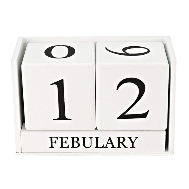 Wooden Perpetual Calendar Desk Rustic Wooden Cubes Calendar Block