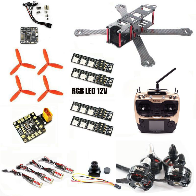 FPV drone QAV-R 220mm QAV 210 quadcopter carbon frame NAZE 32 AT9S remote control PDB Wdiy 2204 2300kv WST 12A ESC CC3D LED 12V drone with camera carbon fiber mini qav250 c250 quadcopter frame motor 12a esc cc3d flight control fpv