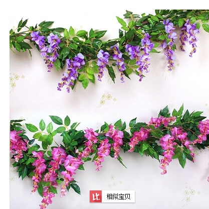Artificial flower Silk Flower Green Leaf wisteria Garland Home Wall Party Decoration Vine/Rattan - Natali Colthes Co.,LTD store