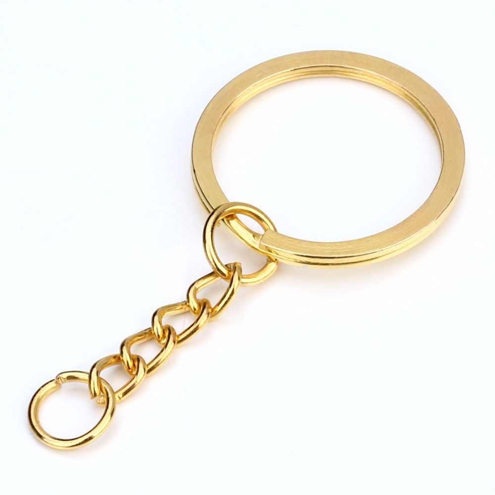LOULEUR 20 pçs/lote Chave Anel Chave Da Cadeia de Ródio Bronze Ouro Cor 28mm Longa Rodada Dividir Keyrings Chaveiro Fazer Jóias atacado
