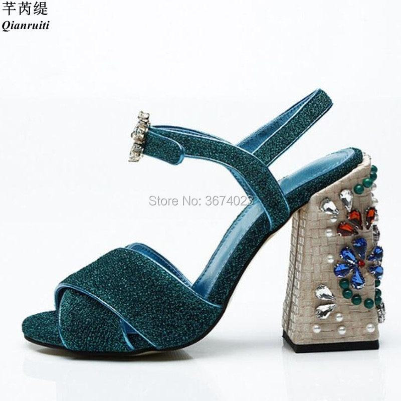 Qianruiti 2018 ใหม่แฟชั่นผู้หญิง Glitter รองเท้าแตะคริสตัลสายคล้องรองเท้าอัญมณีบล็อกรองเท้าส้นสูง Gladiator Crossover Sandal-ใน รองเท้าส้นสูง จาก รองเท้า บน   1