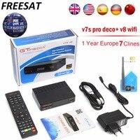 Freesat V7S PRO HD DVB-S2 TV Vía Satélite Receptor decodificador con 7 líneas de Europa Clinales soporte full powervu CLINALES + USB Wfi España