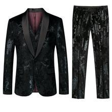 2019 Fashion Mens Suit Slim 3 Pieces Blazer Business Wedding Party Male Jacket Vest with Pants Plus Size Pattern Set