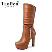 670ad7376b TAOFFEN mujeres hasta la rodilla botas de invierno de piel zapatos de mujer  Zapatos de tacón alto botas de plataforma damas madu.