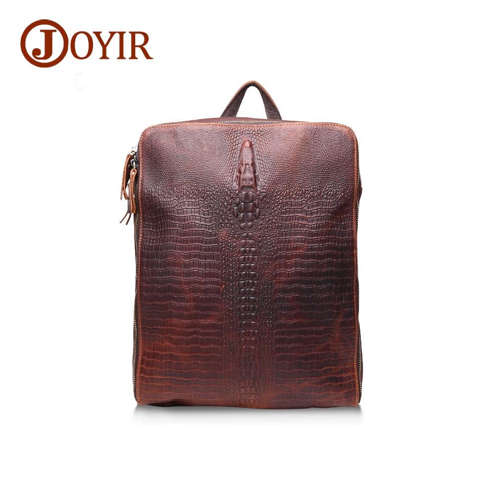 JOYIR Genuine Leather Backpack Alligator Male Travel Backpack Men Laptop Backpacks Pocket Function Bags Business Bolsa Masculina