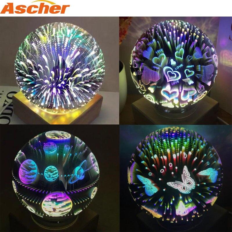 Novedad 3D magia bola de cristal cielo estrellado luz de noche decoración de la Mesa de lámpara de Luna Esfera de cuento de hadas Noche de fuegos artificiales luces USB poder