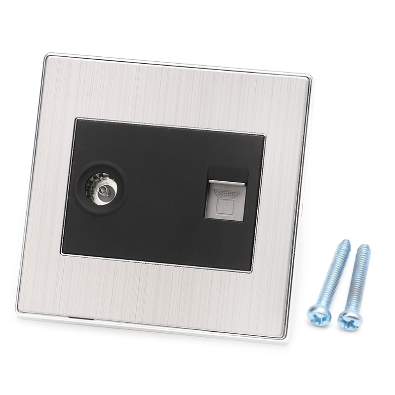 RJ45 Wall Internet Socket With TV Outlet Stainless Steel Brushed Silver Panel