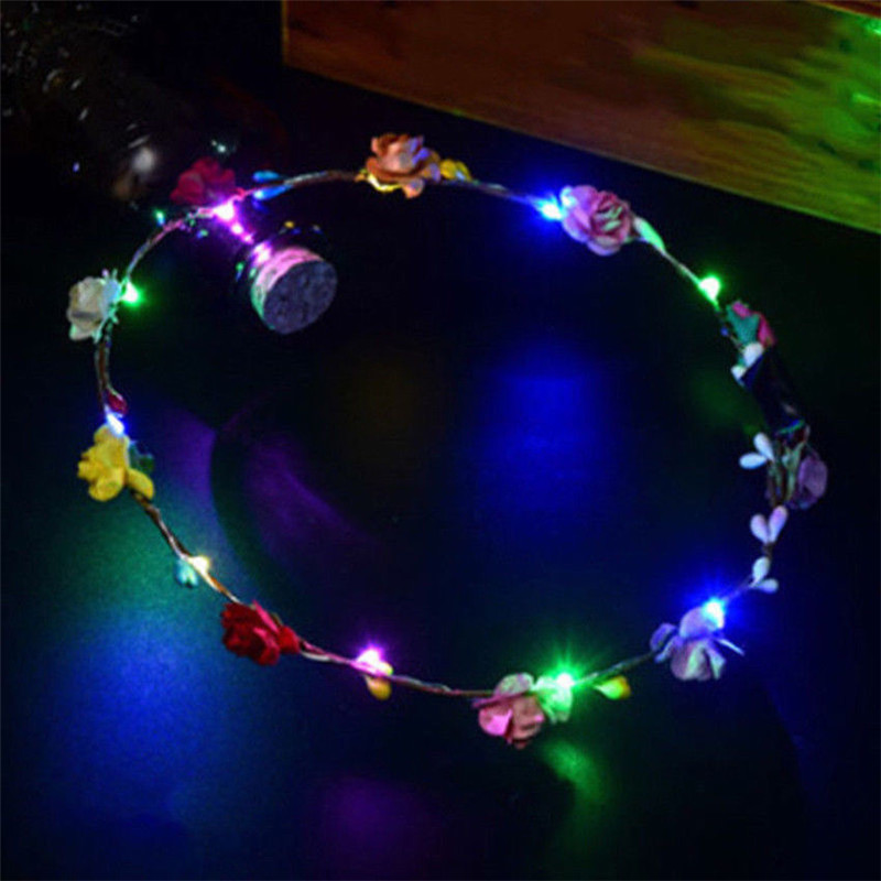 100pcs/lot Wedding Xmas Party Women Lady LED Light Up Flower Headband Hair Wreath Garland 8 Colors