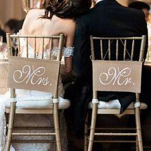 1 Juego de bandera de silla de arpillera conjunto de silla de novio y accesorios de novia aniversario foto colgante signos decoración Vintage decoración de boda