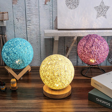 Rechargeable 3D Rattan Ball Lamp 15CM 3 mode color Switch Bedroom Bookcase 15cm Night Light Home Decor Creative Kids Gift Mylamp