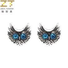 2017 Hot Fashion European And American Vintage Retro Brincos oorbellen Blue Crystal Big Eyes Owl Stud Earrings For Women Jewelry