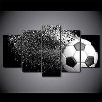 5パネルアートフットボールプリントキャンバス絵画リビングルーム現代壁アートボールランニング写真家のポスターなしフレーム
