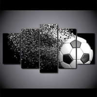 5 Panels Art Football Printed Canvas Painting Living Room Modern Wall Art Ball Running Pictures Home