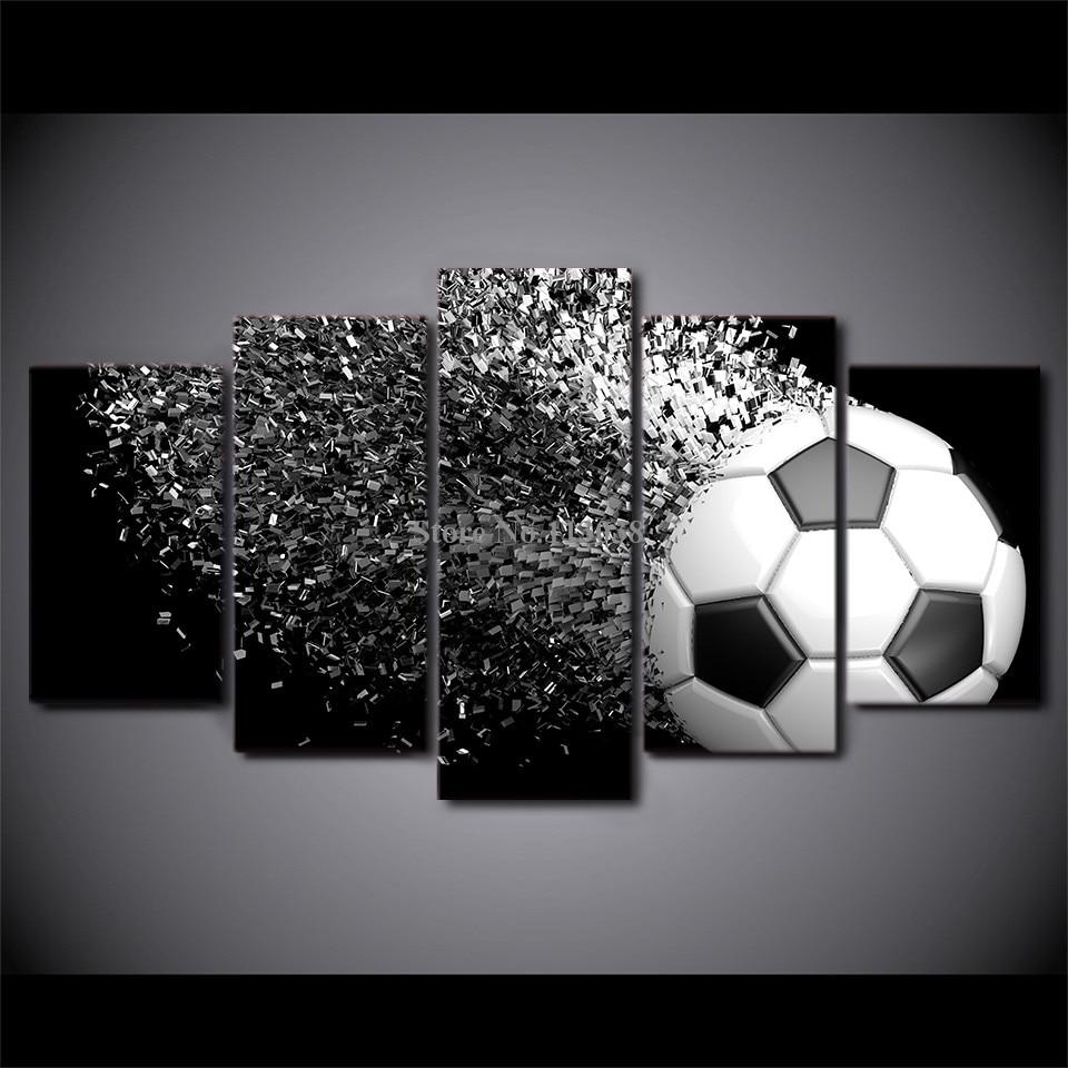 5 Panels Art Football Printed Canvas Painting Living Room Modern Wall Art Ball Running P ...
