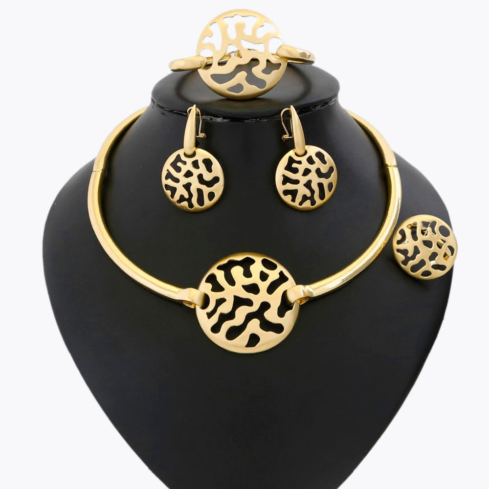 YULAILI New Arrival Ladies Costume Wedding Bridal Jewelry Set with 24 Karat Pure Gold Color 4-pcs Accessories yulaili new coming pure yellow flower bridal wedding jewelry set nigerian ladies party wedding accessories