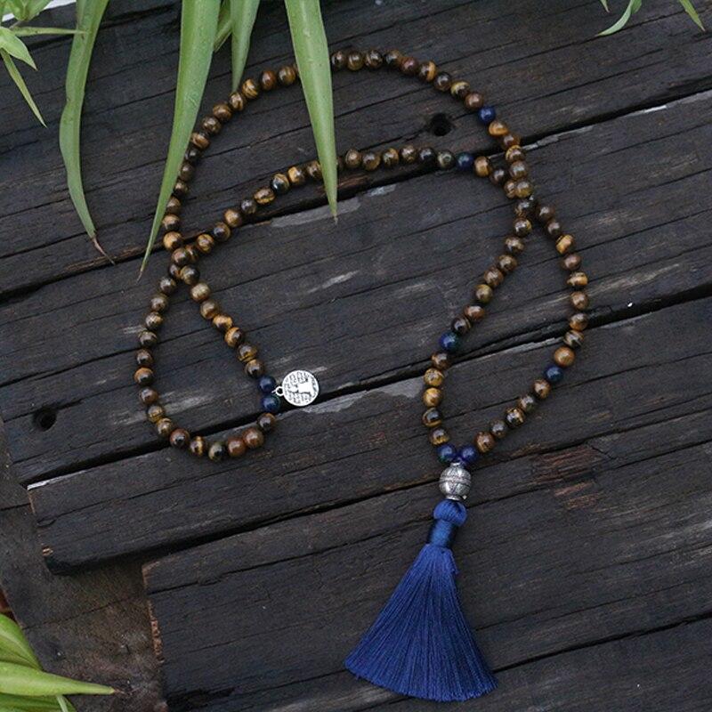 8mm Natürliche Perlen, Tigers Eye, Chrysokoll, JapaMala, Yoga Halskette, Spirituellen Schmuck, chakras Mala, Meditation, 108 Mala Perlen