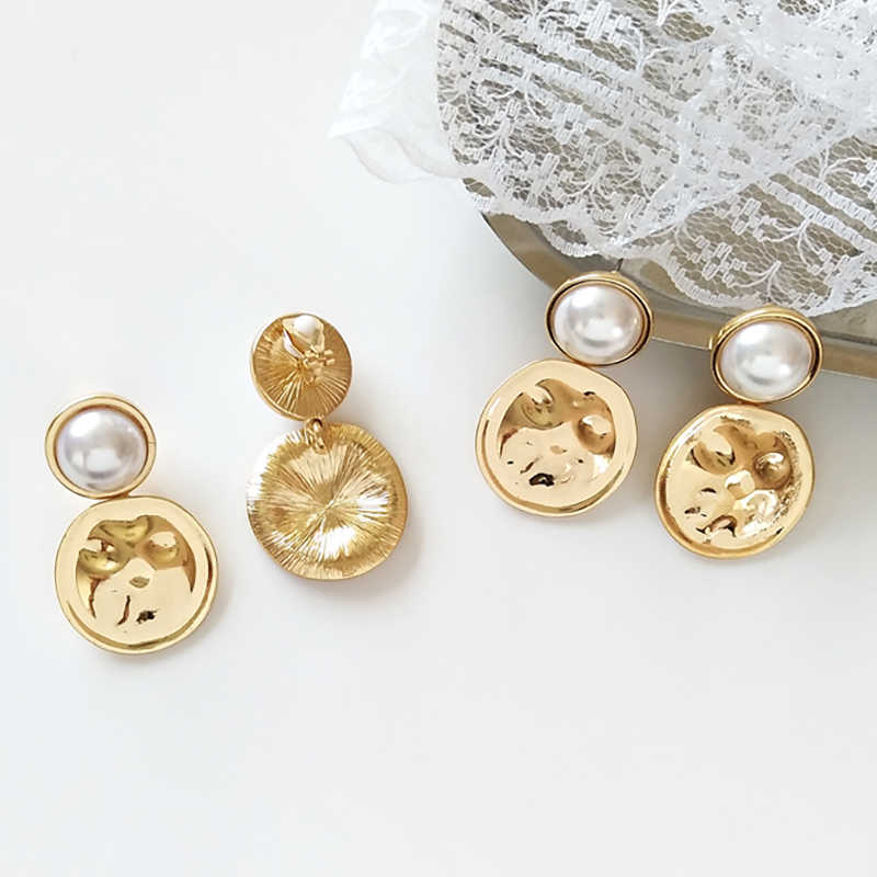 Geometric Gold Color Coin Imitation Pearls Earrings Women Wedding Bride Fashion Jewelry Double Round Disco Alloy Drop Earrings