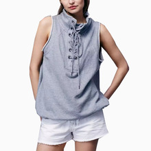 New 2017 Summer European Style Turtleneck Design Bandage Casual Sleeveless T Shirt Girl Navy Blue Grey Exercise Wear T-shirt