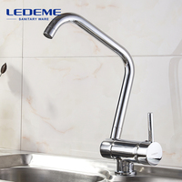 LEDEME Kitchen Faucet Deck Mounted Mixer Tap 360 Degree Rotation With Water Purification Features Mixer Tap