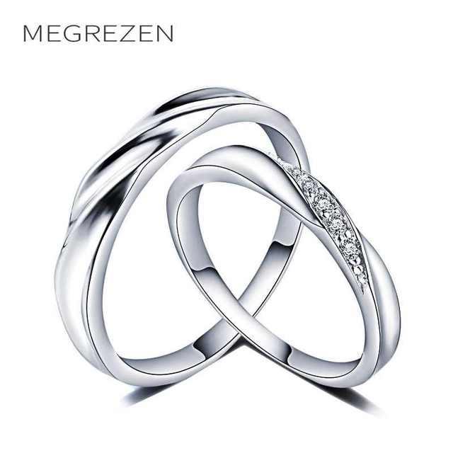 ce811a31d6a2 Anillo De boda MEGREZEN conjunto Dropshipping anillos De plata Para hombres  y mujeres venta al por mayor Anillo De Matrimonio Para Pareja YR030-4