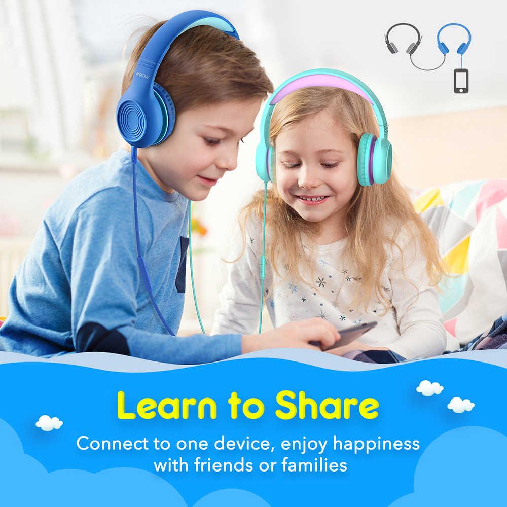 Mpow CH6 แบบมีสายหูฟังสำหรับเด็กปรับสายหูฟัง 3.5 มม.และไมโครโฟนสำหรับเด็กสำหรับ iPod