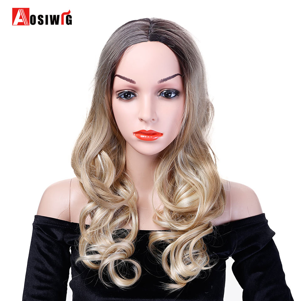 AOSIWIG Long Wavy Wig Ombre Black Brown Hair Costume Party Synthetic Wig Heat Resistant Cosplay Wigs for Women