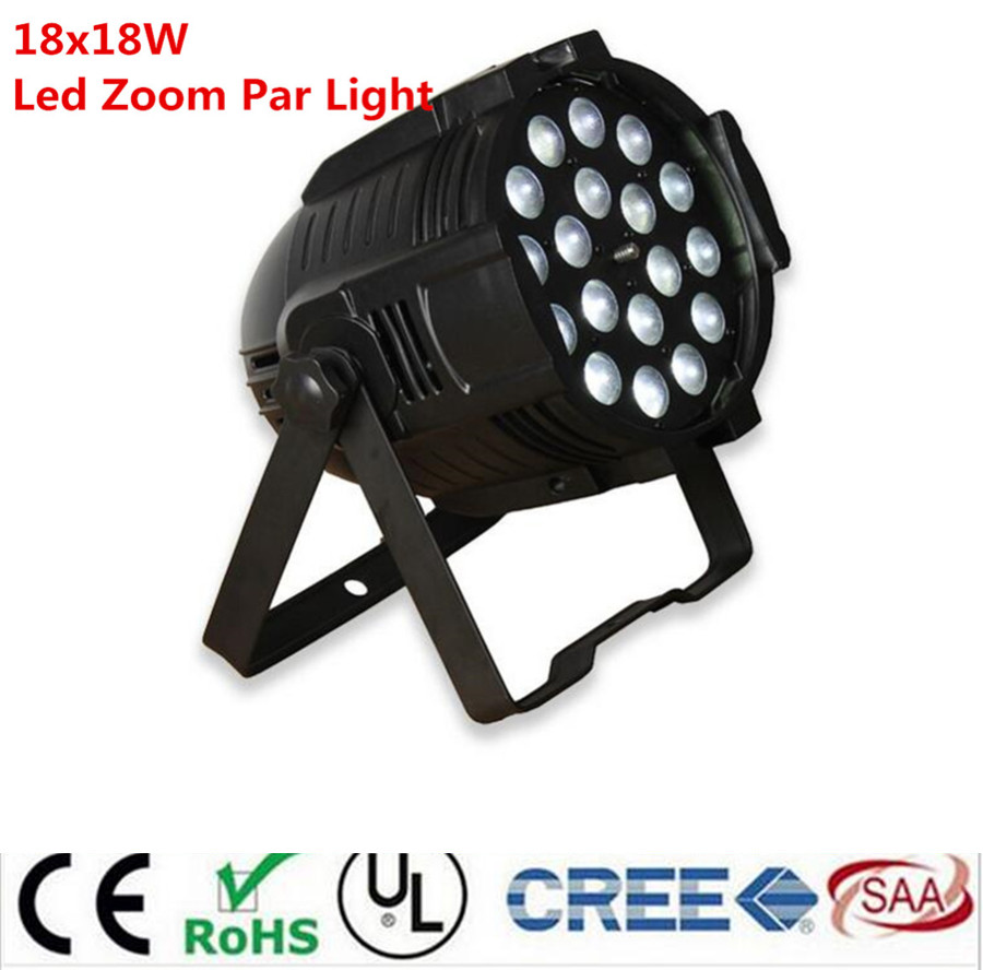 10pcs /lot 18x18w zoom par light dmx lights dj par 64 rgbwa uv 6in1 led par light for dj party disco