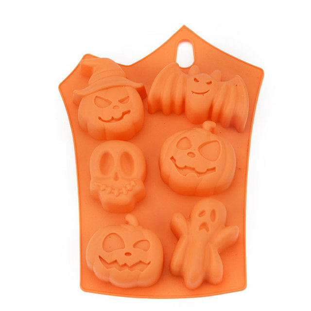 6 Cavity Halloween Silicone Cake Mold Decor Ice Cubes Tray Soap Chocolate Baking Mould Kitchen Tools