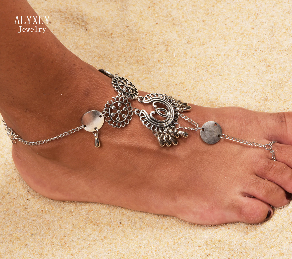 New vintage foot jewelry silver color flower chain anklet gift for women girl AN06