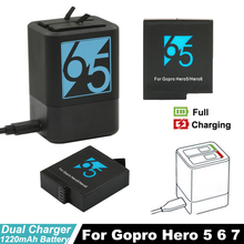 Dual Slots Battery Charger for GoPro Hero7 Hero6 5 + Go Pro Hero5 Battery for GoPro Hero 7 6 5 Black sports Camera Accessories цена и фото
