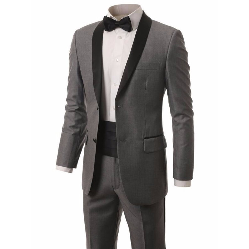 HB040 Custom Made Gray Groomsmen Shawl Satin Lapel Groom Tuxedos two Buttons Men Suits Wedding Best Man (Jacket+Pants+Tie)