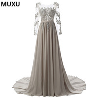 MUXU Fashionable Dress Long Sleeved Grey Lace Embroidery Sexy Backless Dress Party Transparent Lace Patchwork Sequin