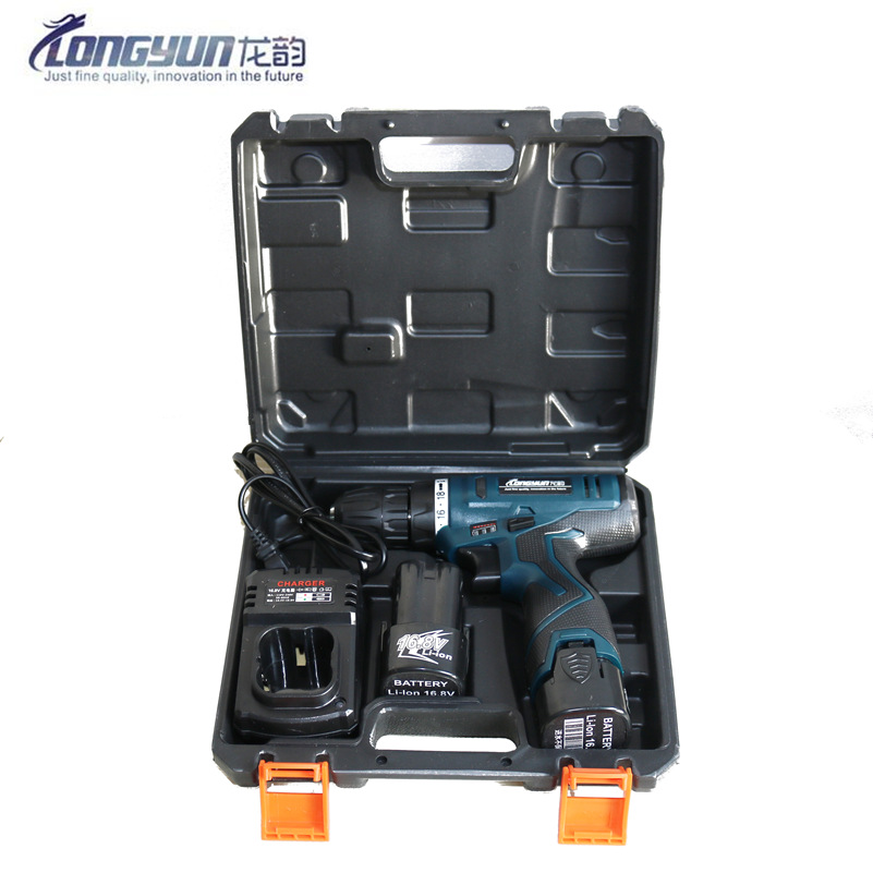 Longyun 16.8V Lithium Battery*2 Torque Electric Drill Cordless Electric Screwdriver Hand Driver With Suitcase Plastic Box Tools