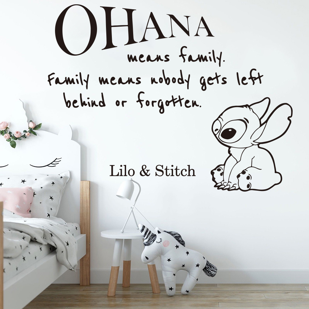 Cartoon Ohana Lilo And Stitch Quote Wall Sticker Nursery Kids Room Large Anime Family Love Quote Wall Decal Playroom Vinyl Decor(China)