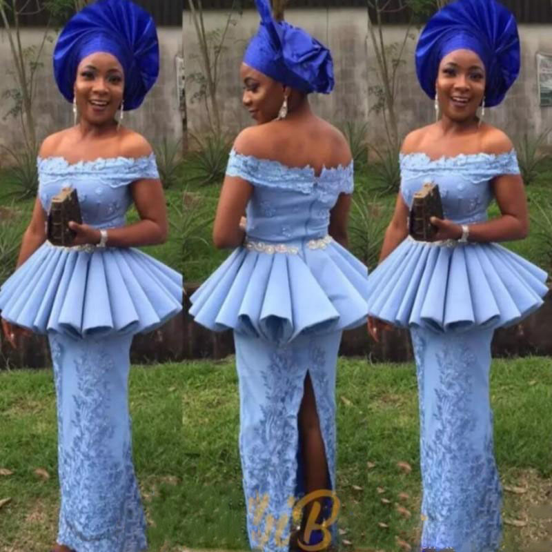 71c2cc13dabd9 African Mermaid Prom Dresses Off Shoulder Formal Women Wear Party Gowns  Robe de soiree Peplum Sash Bead Split Back Evening Dress
