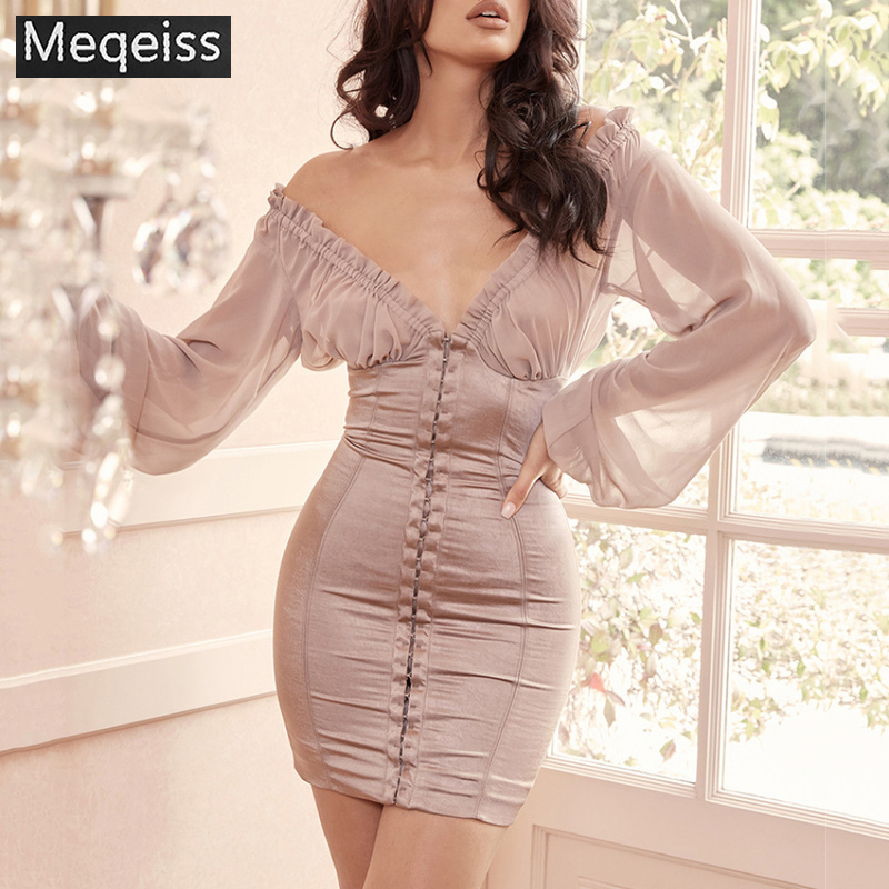 2019 New Summer Women Dress V Neck Long Sleeves Dress Sexy Bodycon Chic Celebrity Party Apricot
