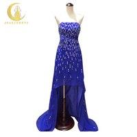 Ren Rzeczywisty Obraz Próbki Bez Ramiączek cekiny Royal Blue Szyfonu Z Przodu Krótki Długi Powrót Formalny strój wieczorowy